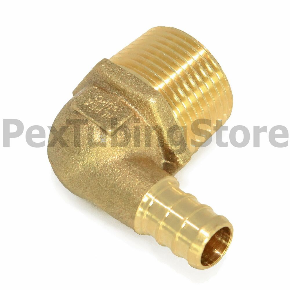 Quot pex male npt threaded elbow brass crimp