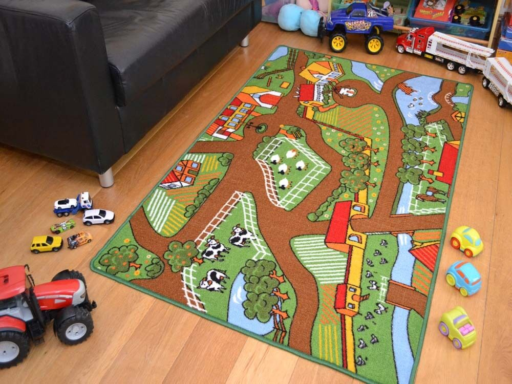 childrens bedroom rugs machine washable non slip childrens farmyard farm 11103