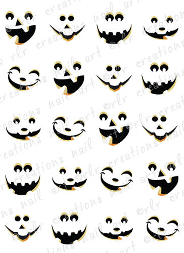20 HALLOWEEN NAIL DECALS -CUTE JACK O LANTERN FACES WATER ...