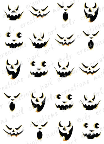20 HALLOWEEN NAIL DECALS -SCARY JACK O LANTERN FACES WATER ...