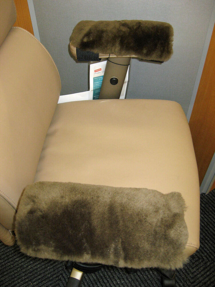 Brown Merino Sheepskin Arm Rest Covers Pads Office Chair