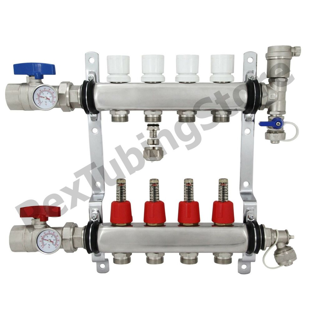 Branch pex radiant floor heating manifold set
