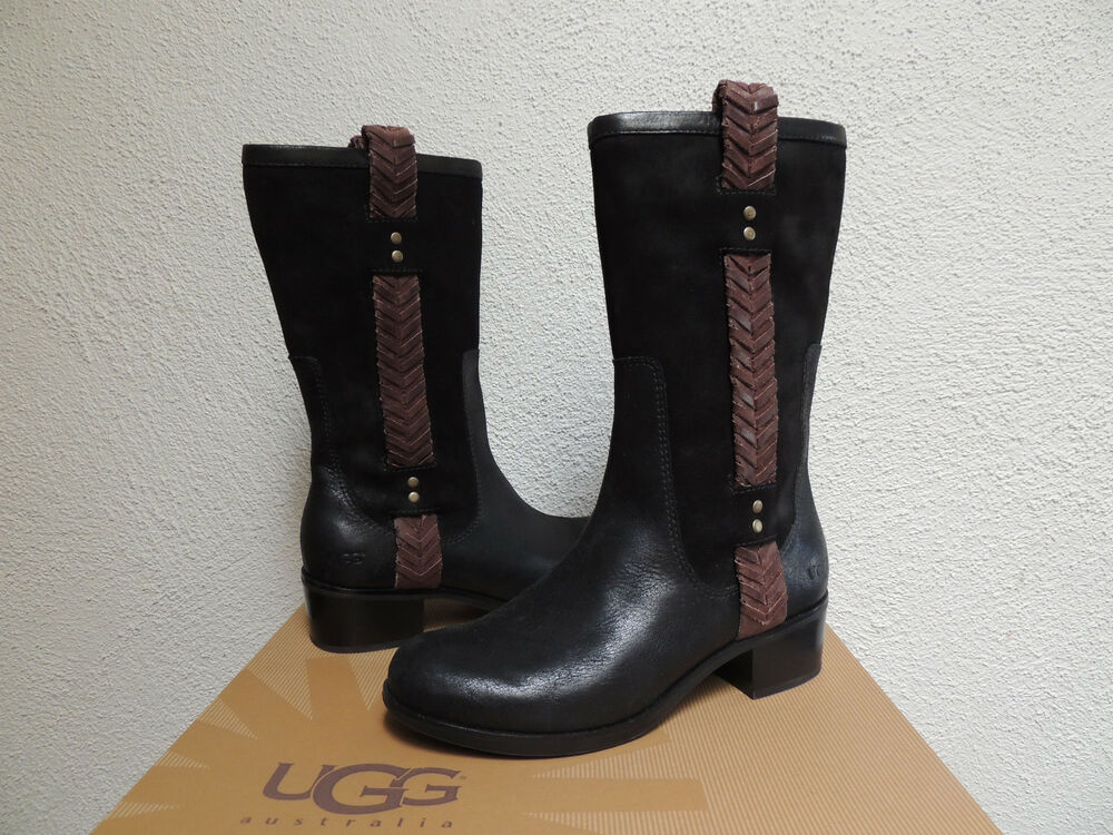 ugg jaspan black equestrian style suede boots us 7 eur. Black Bedroom Furniture Sets. Home Design Ideas