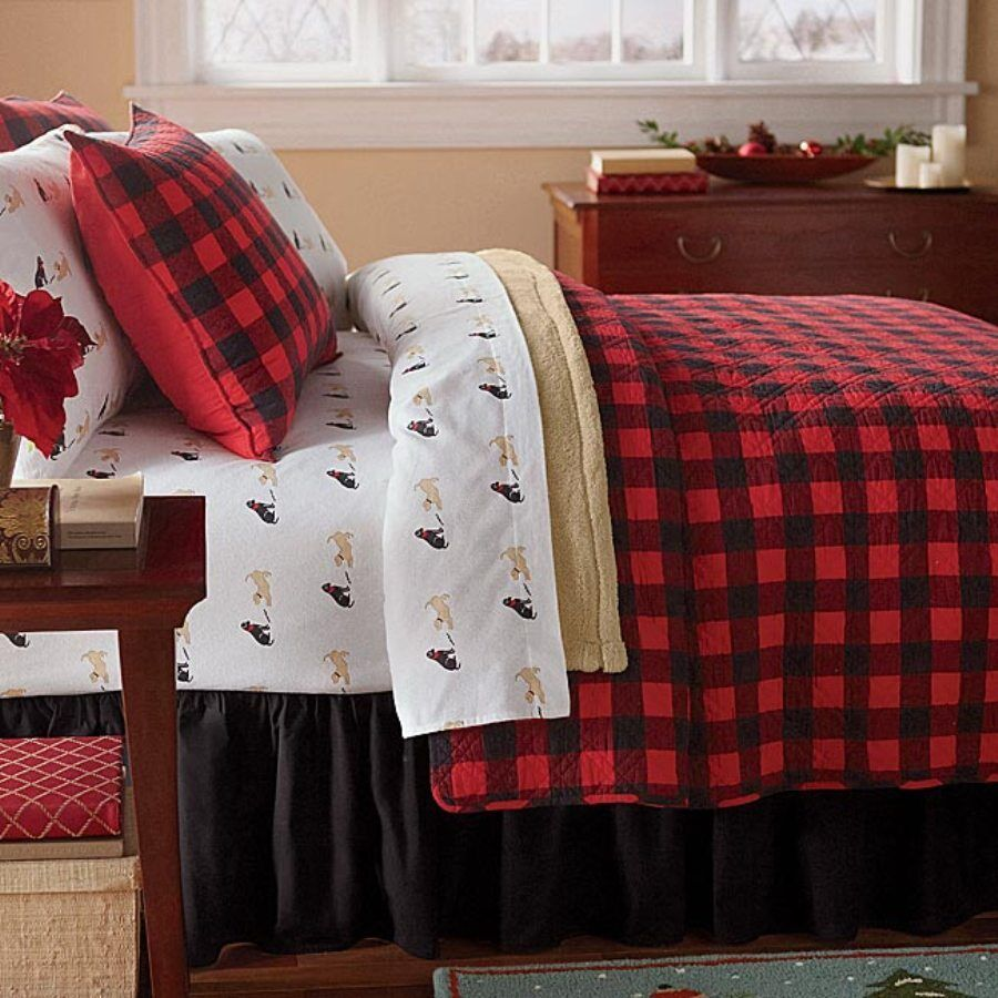 Red Buffalo Plaid Twin Single Quilt Set Lodge Cabin