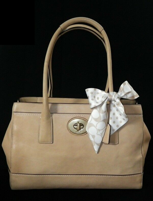 NICE COACH LG MADELINE NATURAL TAN LEATHER TOTE BAG PURSE ...