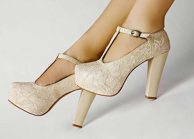 Wedge Heel Shoes For Wedding: Strappy Wedge Full Toe Platform Lace Wedding Ladies Shoes