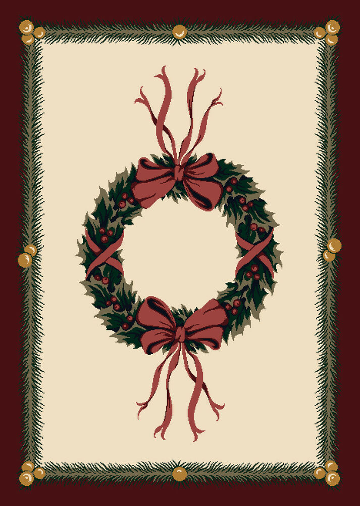 4x6 Milliken Holiday Wreath Sugarplum Christmas Area Rug