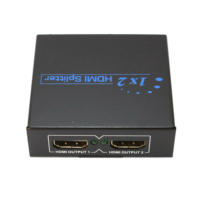2 port hdmi splitter box with power adapter 1 to 2 monitor hd tv mirror ebay - Two hdmi monitors one port ...