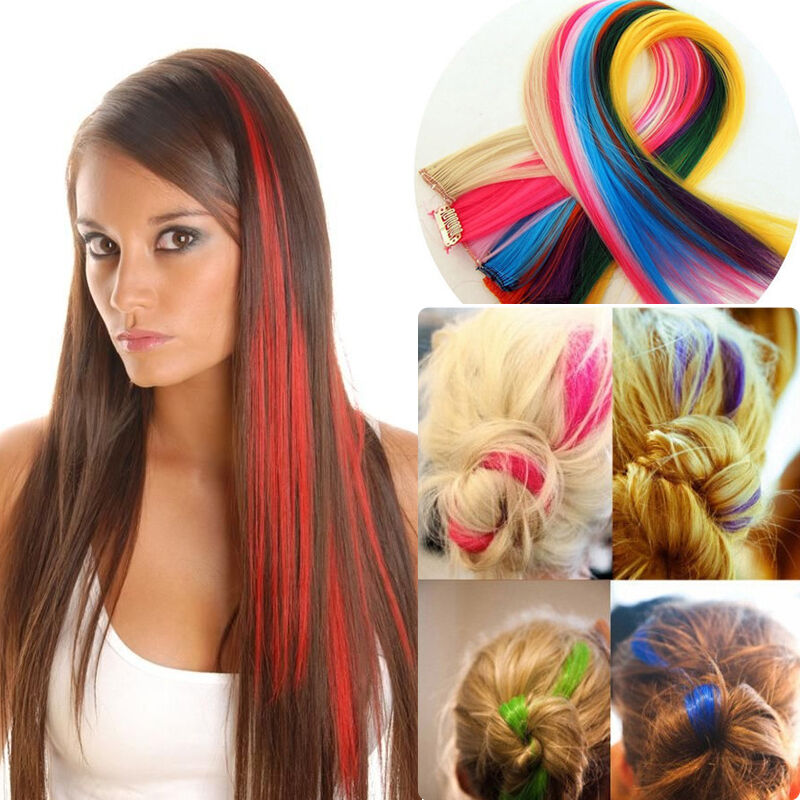 Clip In On Colorful Hair Piece Synthetic Straight Hair Extensions