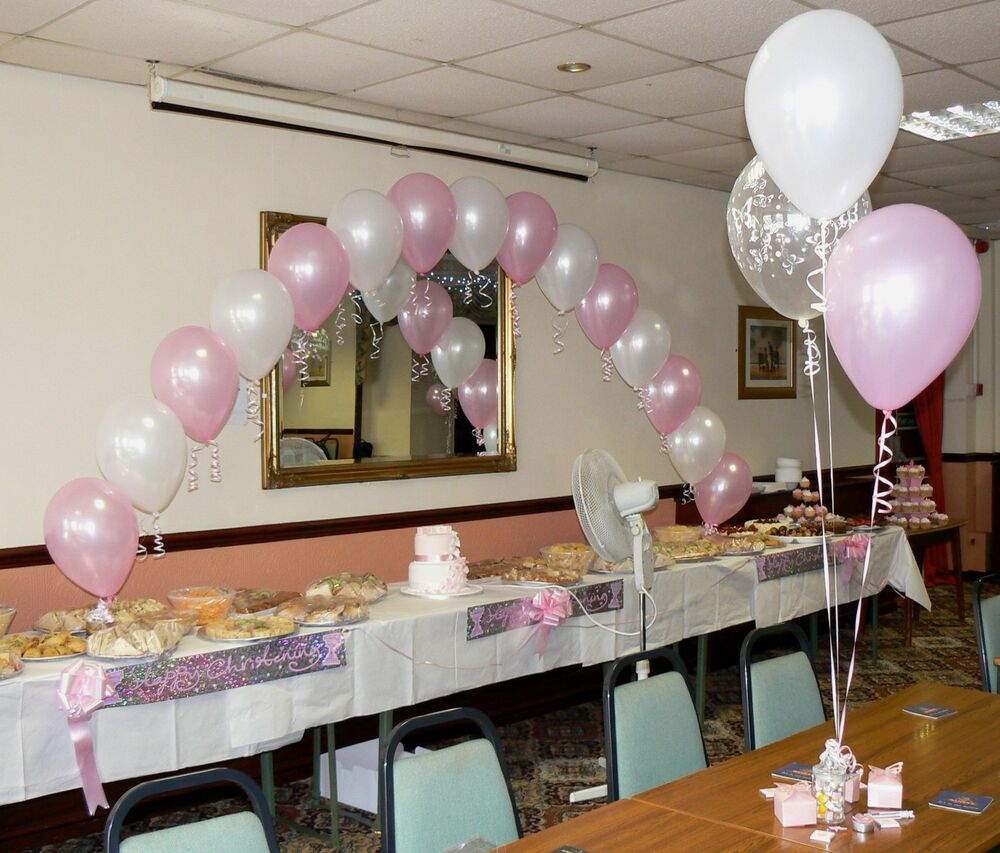 Christening balloons boy or girl arch 10 table for Baby girl baptism decoration ideas