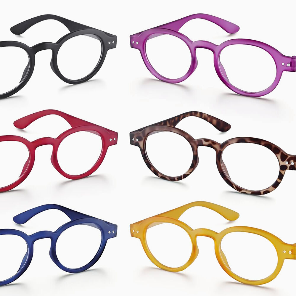 NEW FUNKY RETRO ROUND RIMMED READING GLASSES - BLACK, RED ...
