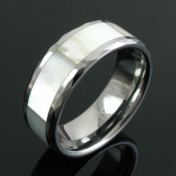 Tungsten mother of pearl inlaid faceted wedding ring band for Pearl engagement ring with wedding band