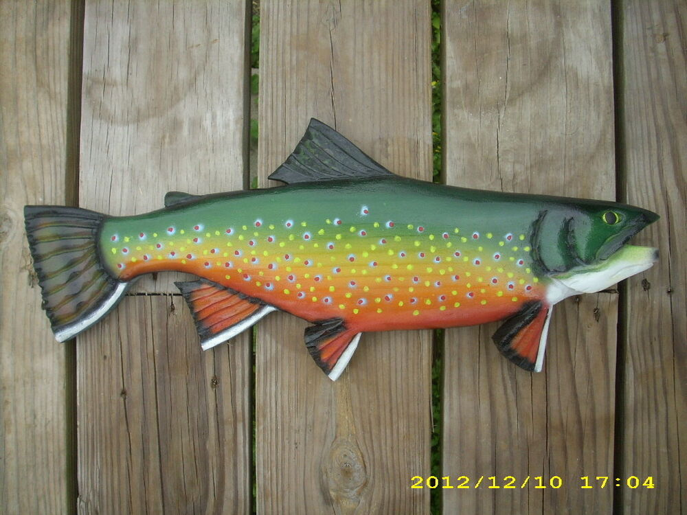 Brook trout chainsaw wood carving fish decoy wall mount for Global fish mounts