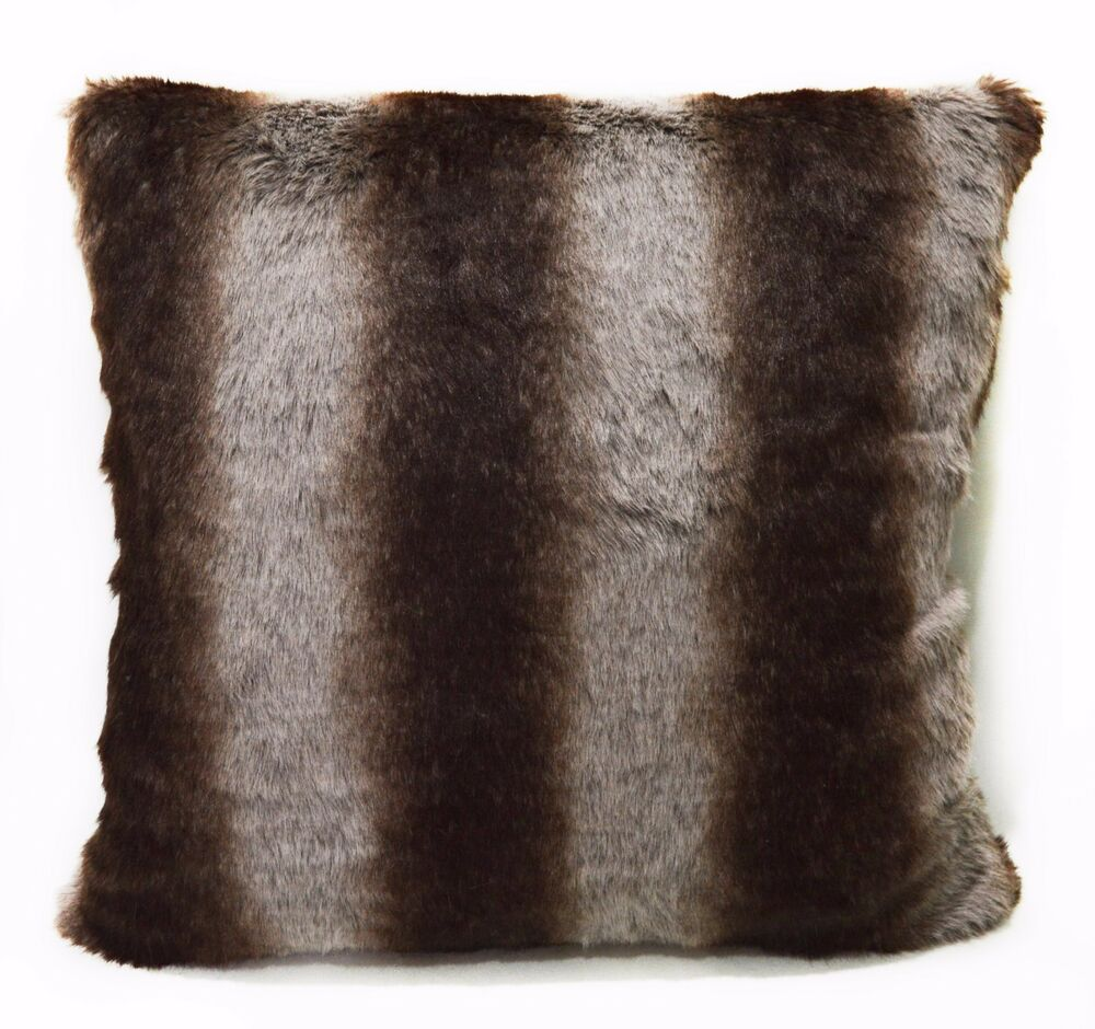 Fp751a Brown Gray Stripe Soft Faux Fur Cushion Cover