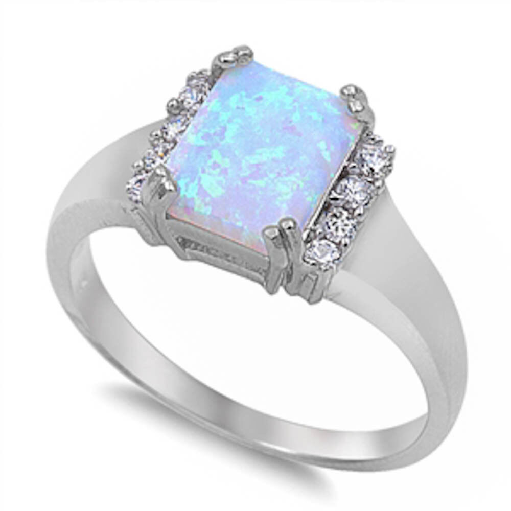 White Fire Opal Amp White Cz Sterling Silver Ring Sizes 5 10