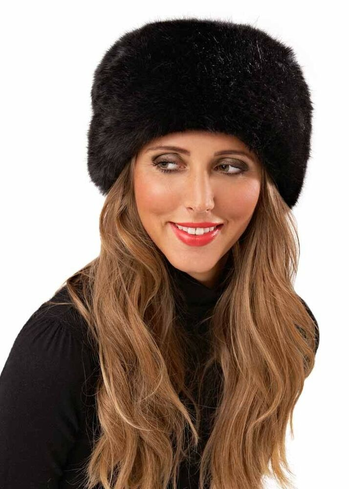 womens faux fur russian hat cossack hat black