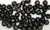 #803 Vintage Metal Beads Ribbed Antique Brass Ox 4mm Round Spacer Bead