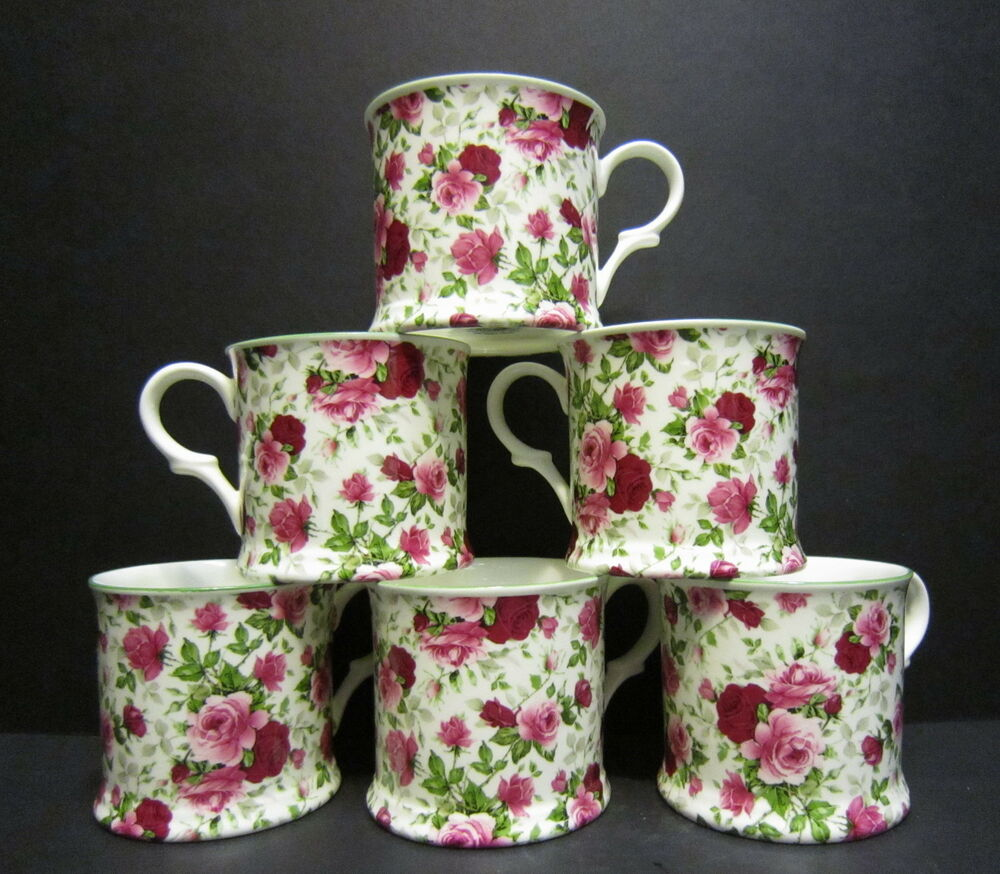set of 6 summertime chintz english fine bone china mugs cups by milton china ebay. Black Bedroom Furniture Sets. Home Design Ideas