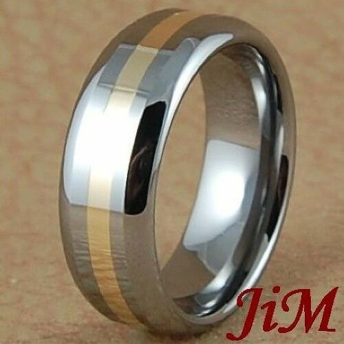 Mens Tungsten Carbide Ring 14K Gold Inlay Wedding Band Bridal Jewelry Size 6