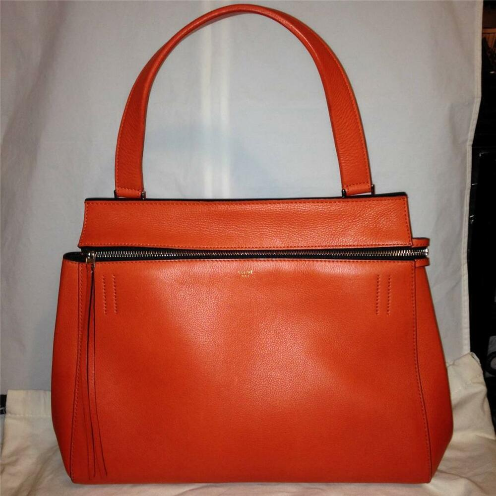 1060f601f3 Details about CELINE Edge Medium Leather Tote Shopping Hand Shoulder Bag  Shopper Orange Red