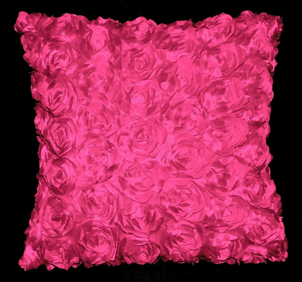 Sa210a Hot Pink 3d Flower Taffeta Satin Cushion Cover