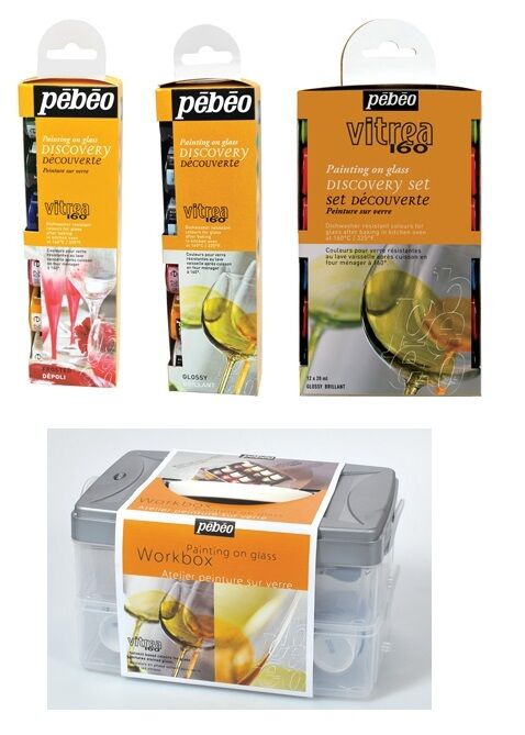 Pebeo vitrea 160 glass painting discovery sets water based for Solvent based glass paint