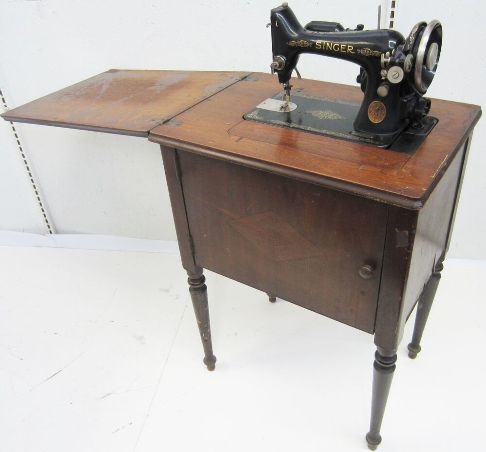 VINTAGE 1936 SINGER TABLE MOUNTED ANTIQUE SEWING MACHINE ...