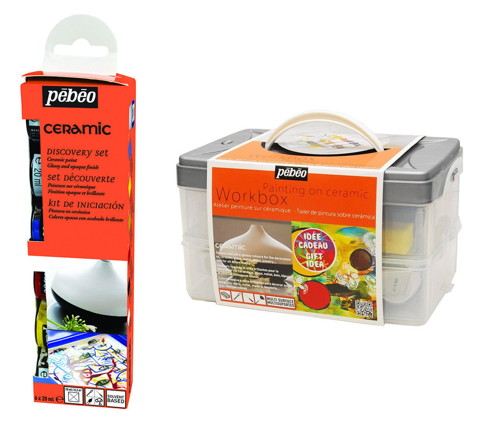 Pebeo ceramic painting discovery sets solvent based opaque for Solvent based glass paint