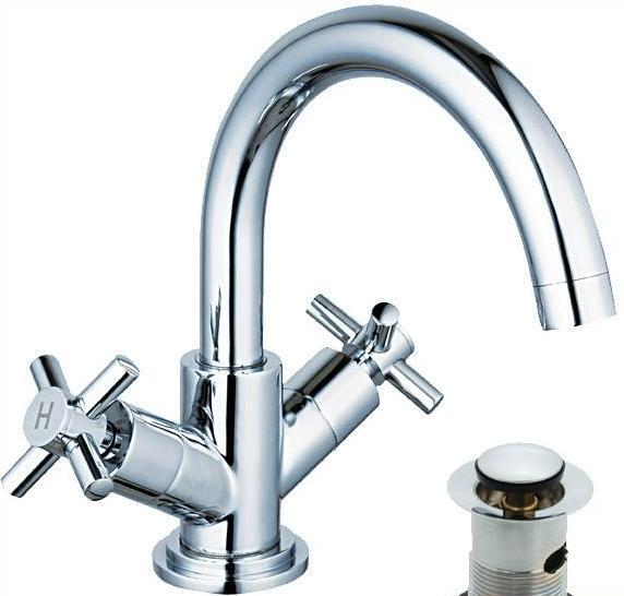mixer taps for bathroom sink chrome cross swan neck swivel spout bathroom basin 23788