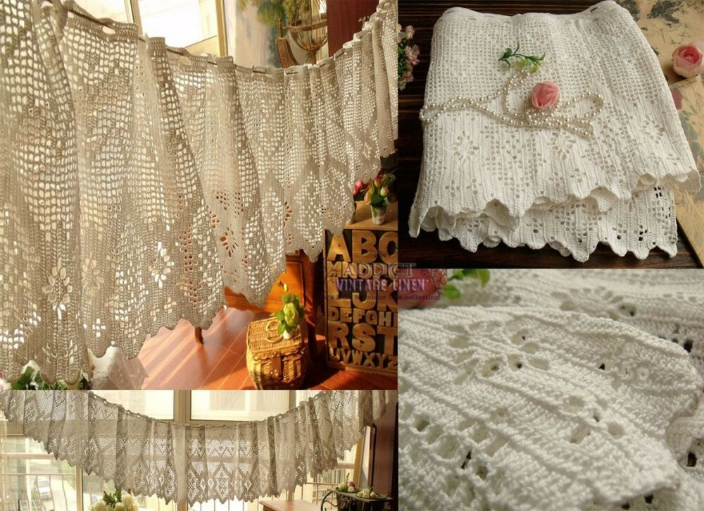 12x200 Quot Long Hand Crochet Vtg Lace Valance Curtain French