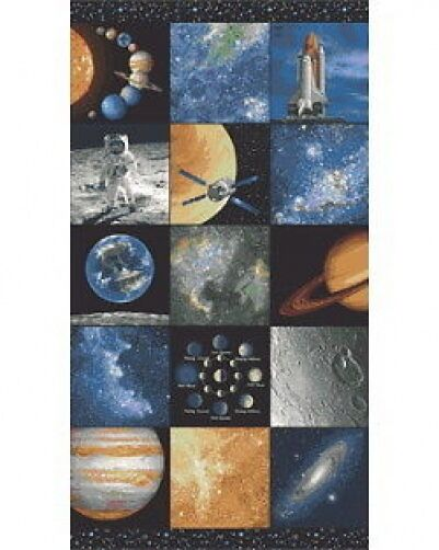 Space solar system planets cotton quilting fabric panel for Space cotton fabric