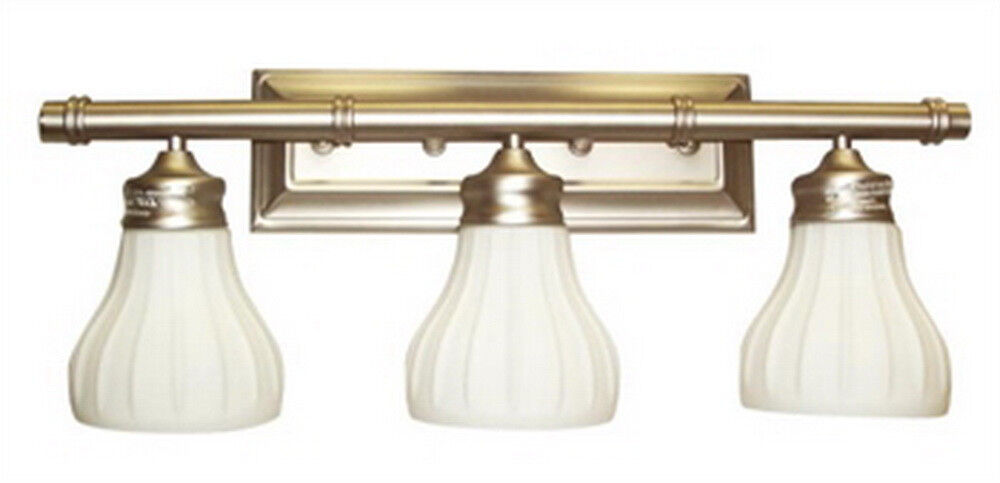 Antique Brass 3 Light Bath Wall Fixture EBay