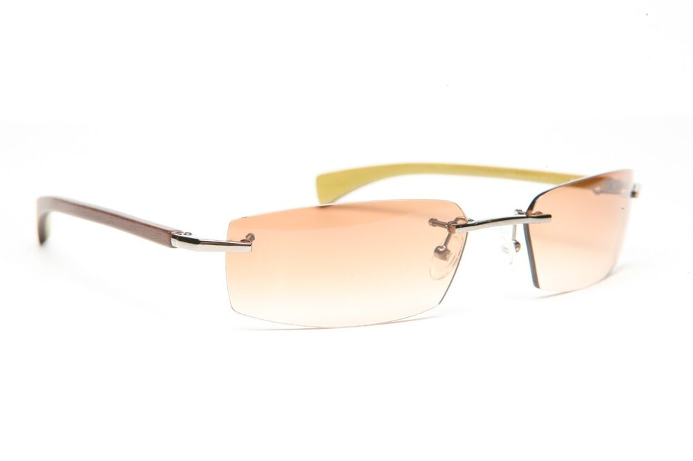 Rimless Gold Eyeglass Frames : GOLD AND WOOD RIMLESS EYEGLASSES GLASSES SUNGLASSES E01.27 ...