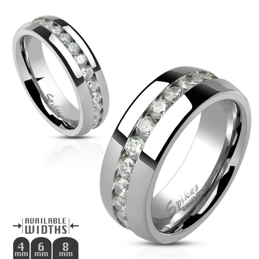 Stainless Steel Mens Wedding Band Ring 8mm: Stainless Steel Eternity CZ Wedding Band Ring 4mm 6mm 8mm