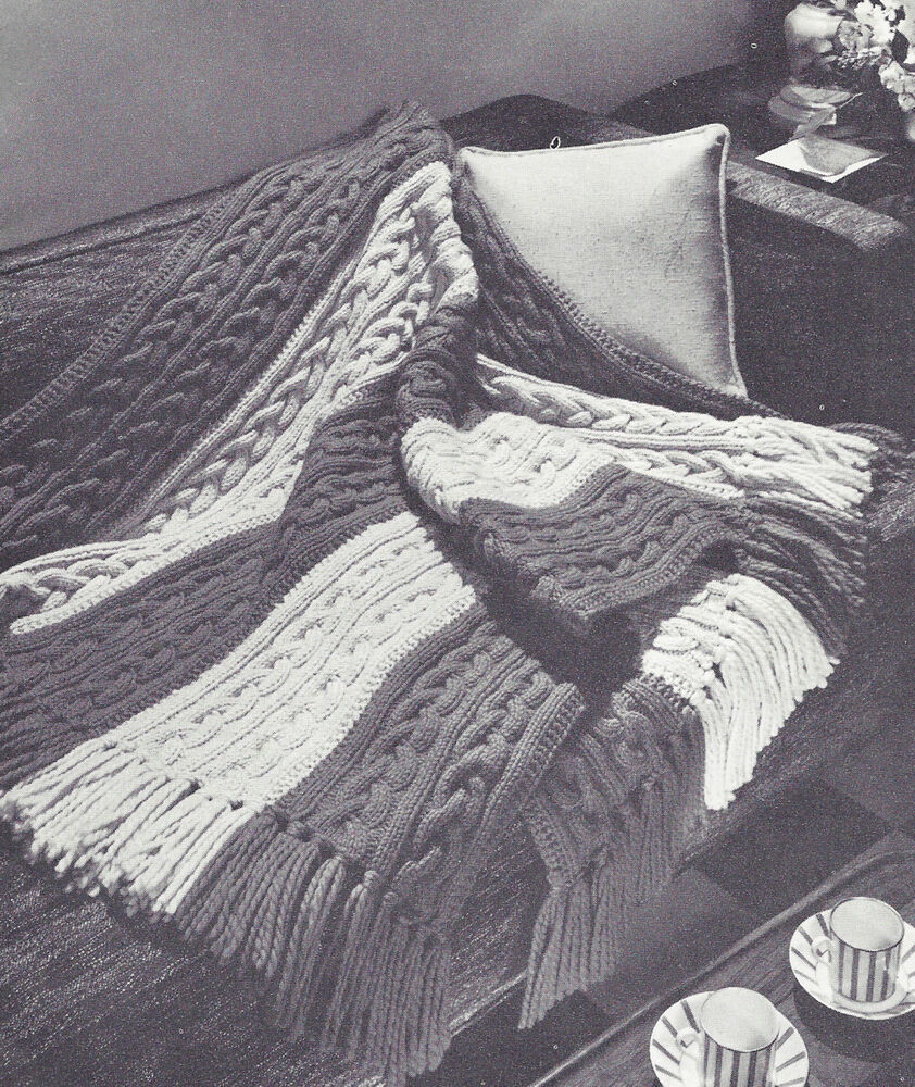 Knitting History Facts : Vintage knitting pattern to make knitted afghan throw