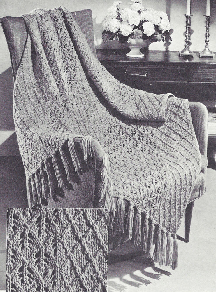 Vintage Knitting Pattern To Make Knitted Afghan Throw