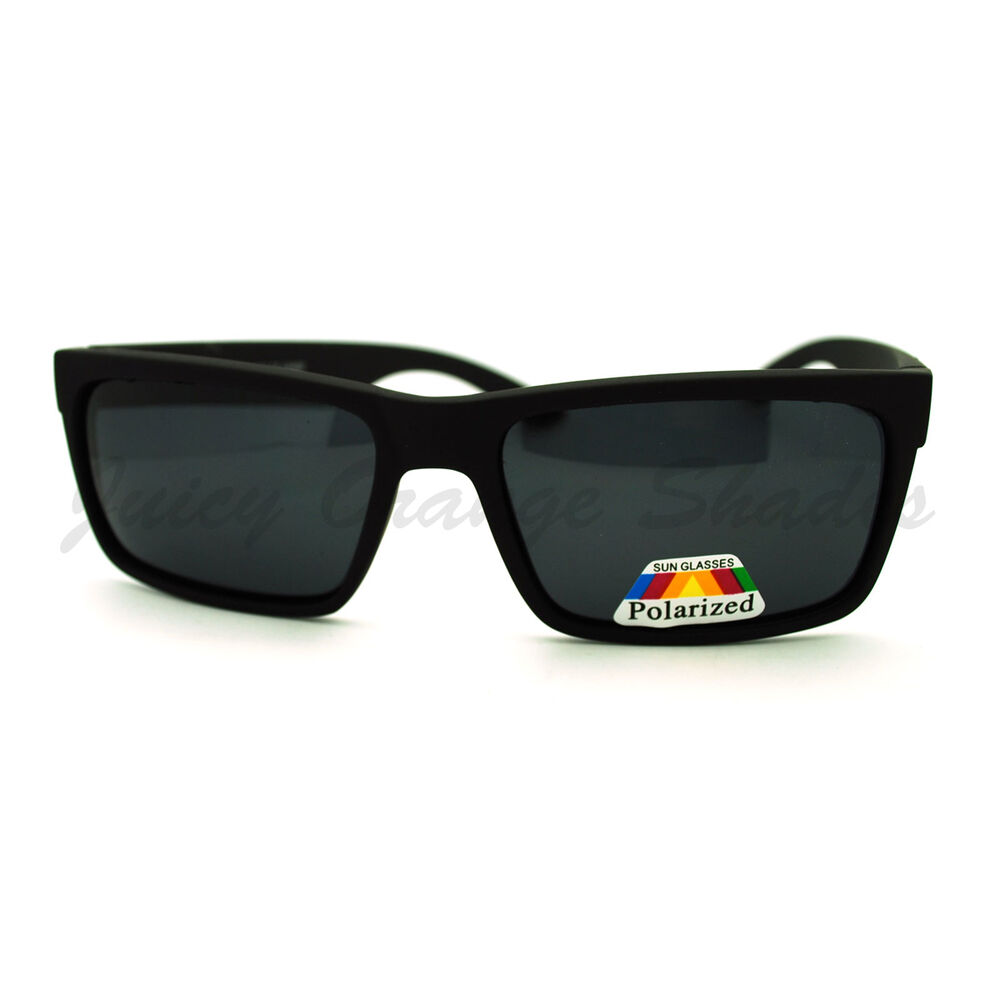 Mens Polarized Sunglasses Classic Rectangular Matted Frame