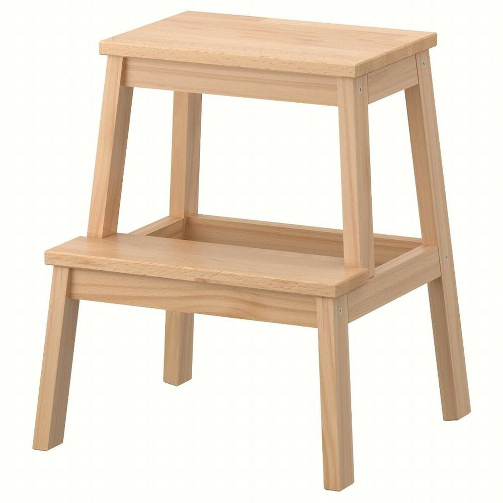 New Wooden 2 Step Stool Sturdy Wood Ladder For Kitchen