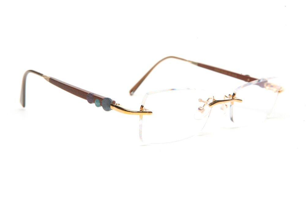 GOLD AND WOOD RIMLESS EYEGLASSES GLASSES SUNGLASSES R27.16 ...