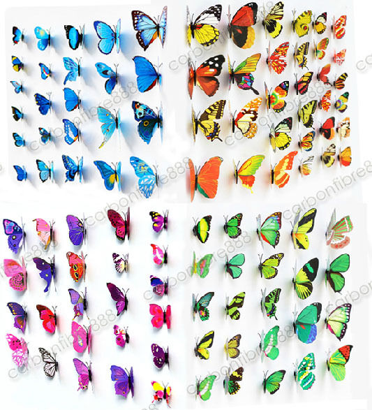 3d butterfly wall art decal stickers magnet mural home decoration 12pcs 48pcs ebay. Black Bedroom Furniture Sets. Home Design Ideas