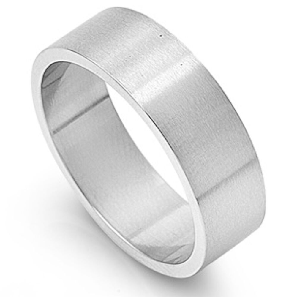 Stainless Steel Mens Wedding Band Ring 8mm: SOLID 8mm FLAT BAND PIPE CUT WEDDING BAND 316L Stainless