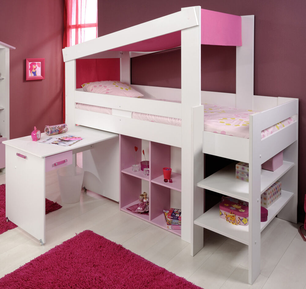 m dchen kinderbett hochbett funktionsbett rosa kinderzimmer bett. Black Bedroom Furniture Sets. Home Design Ideas