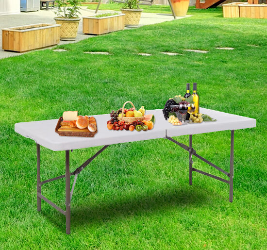 outsunny 4 39 folding table portable adjustable plastic outdoor picnic party white ebay. Black Bedroom Furniture Sets. Home Design Ideas