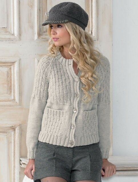 JAMES BRETT LADIES CARDIGAN CHUNKY YARN KNITTING PATTERN ...