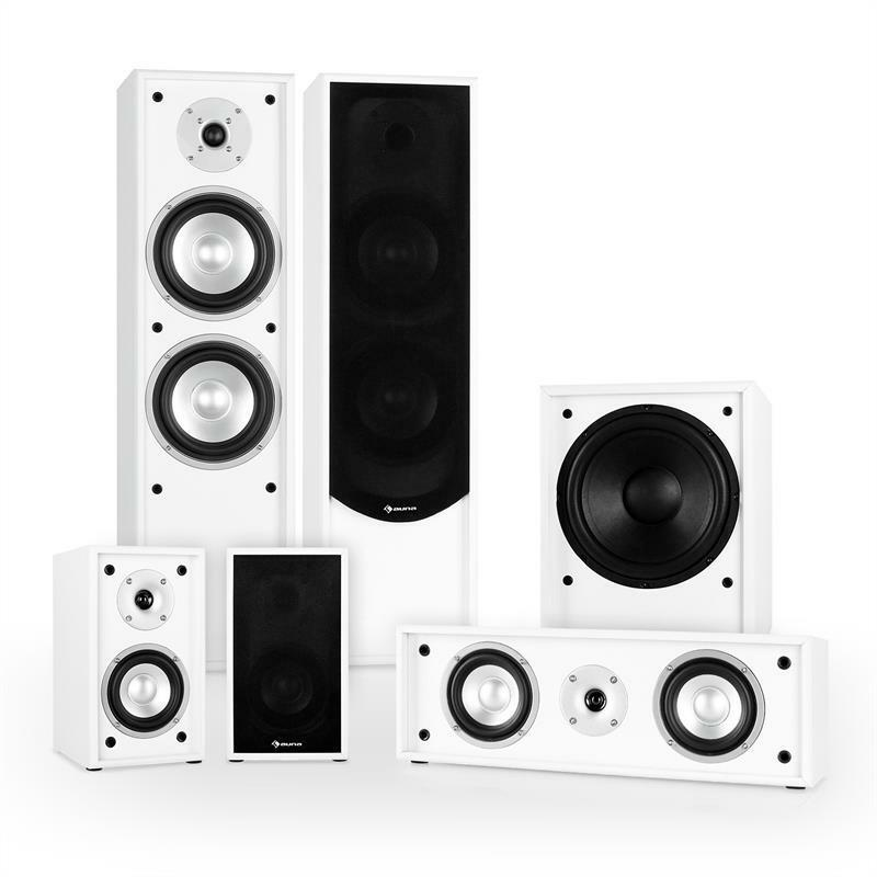 5 1 heimkino sound system aktiv subwoofer stand lautsprecher center speaker wei ebay. Black Bedroom Furniture Sets. Home Design Ideas
