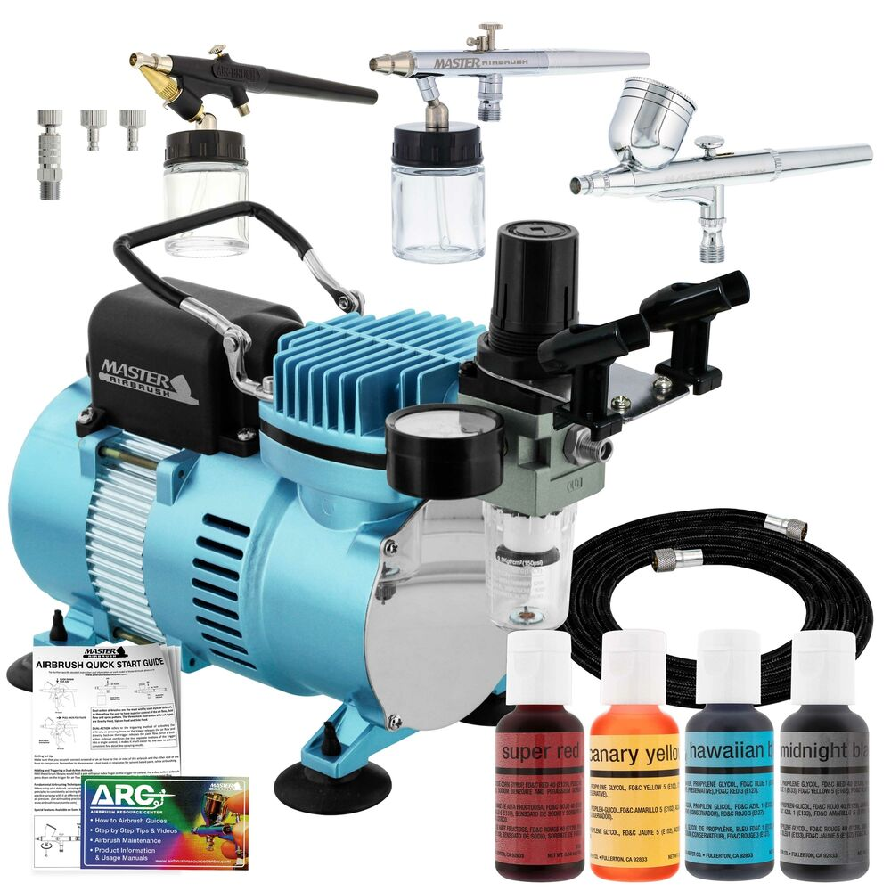 Complete Master Airbrush Cake Decorating Airbrush System : 3 AIRBRUSH CAKE DECORATING SYSTEM KIT Air Compressor ...