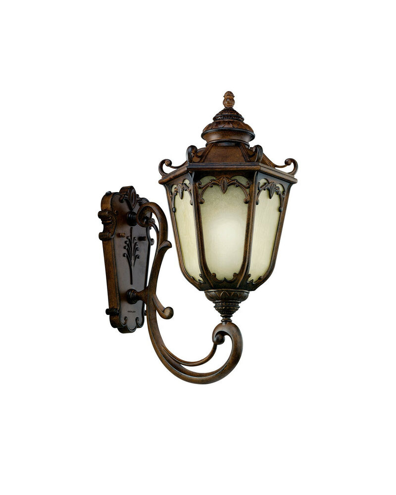 Kichler Brownstone And Umber Etched Seedy Glass Exterior Wall Light eBay