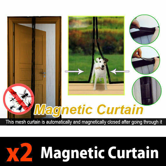 2x Mesh Magnetic Fly Screen Mosquito Bug Door Curtain