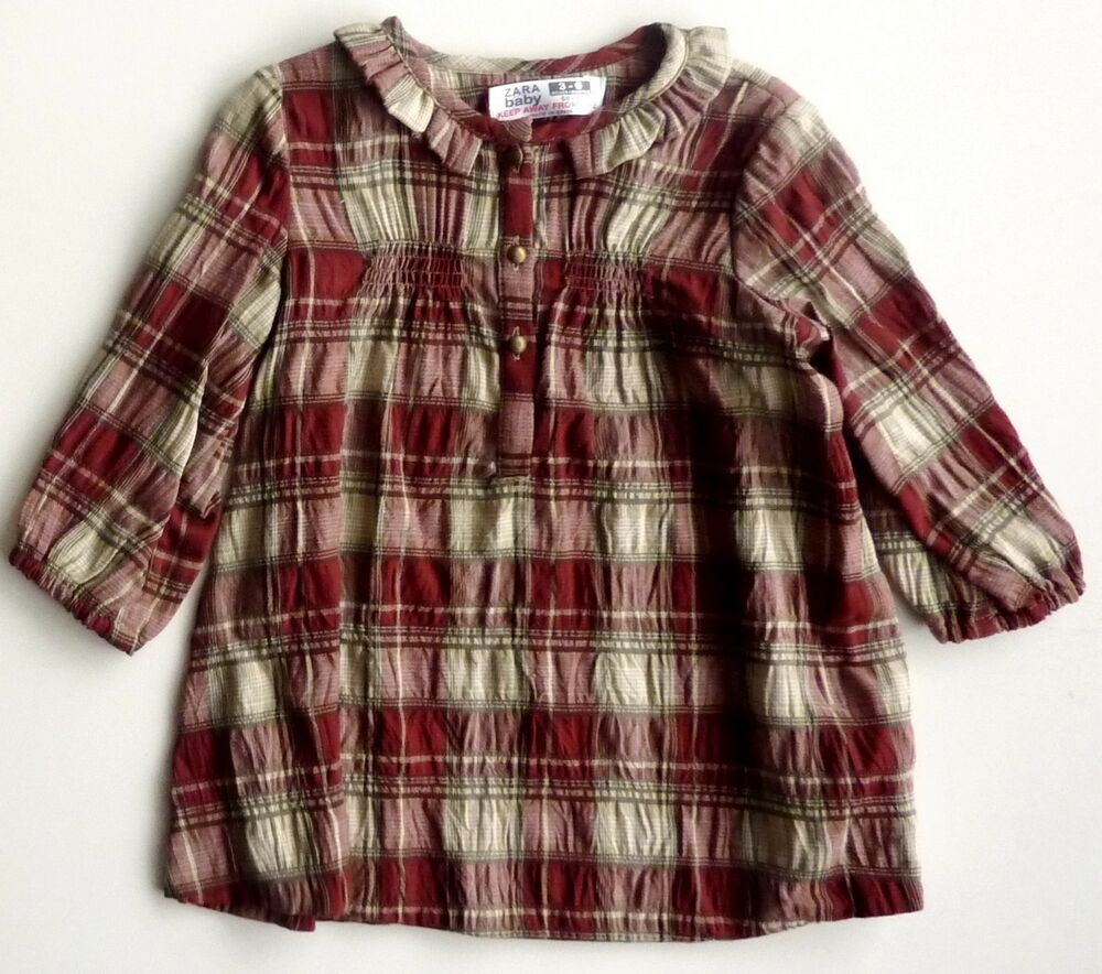 zara girls red checked tartan plaid ruffled shirt smock dress 3 24m ebay. Black Bedroom Furniture Sets. Home Design Ideas