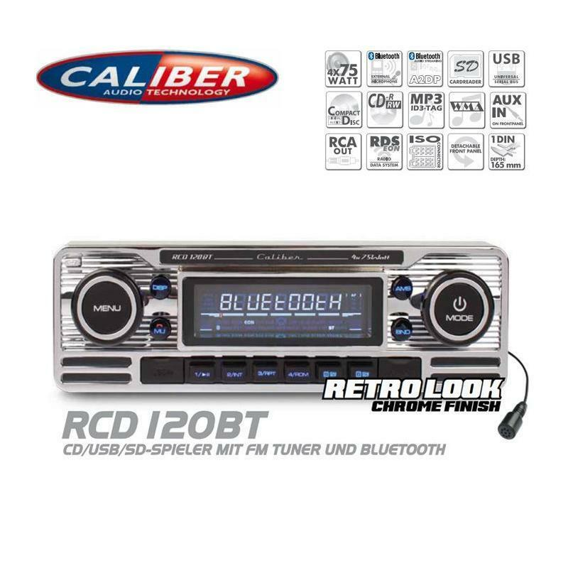 caliber rcd120bt autoradio bluetooth cd usb sd retro design look oldtimer style ebay. Black Bedroom Furniture Sets. Home Design Ideas